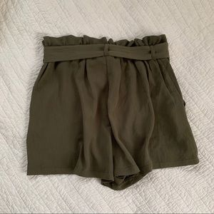 Lush Shorts - LUSH Green Paperbag High Waist Bow Tie Shorts